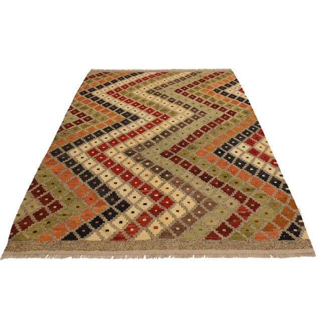 1990s Abstract Tribal Rolanda Gray/Black Hand-Woven Kilim Wool Rug -5'3 X 6'7 For Sale - Image 5 of 8