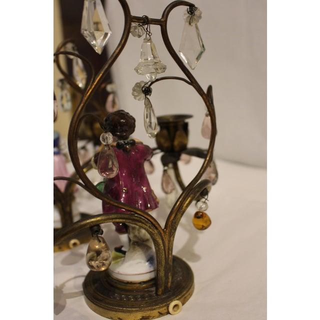 Gilt Bronze Porcelain Figurine Candelabras - a Pair For Sale - Image 10 of 11