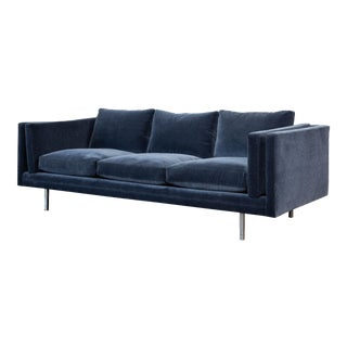 Milo Baughman Velvet Sofa for Thayer Coggin For Sale