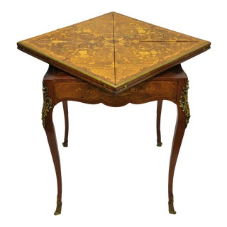 Antique French Louis XV Rosewood Satinwood Inlay Napkin Folding Card Game Table For Sale
