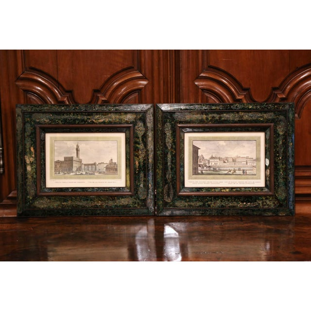 Pair of 19th Century Italian Florence Engravings in Ornate Églomisé Frames For Sale - Image 13 of 13