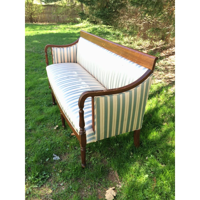 Traditional Antique Sheraton Style Loveseat - Image 4 of 11