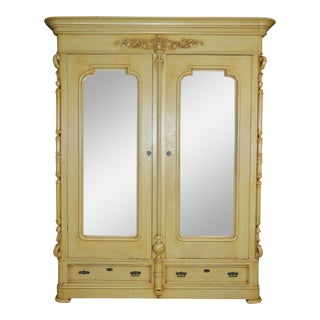 Antique French Country Yellow Armoire For Sale