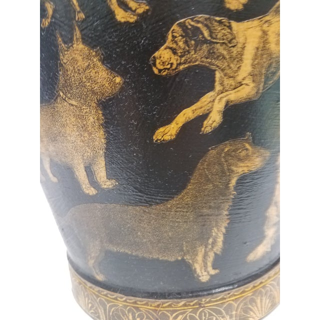 English Antique Bucket / Pail With Decoupage Dogs - Found in Southern England For Sale - Image 10 of 13