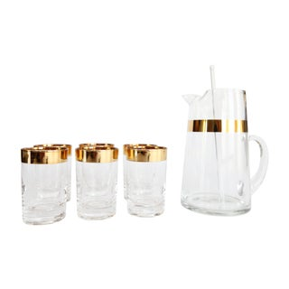 Mid-Century Cocktail Pitcher & 6 Glasses For Sale