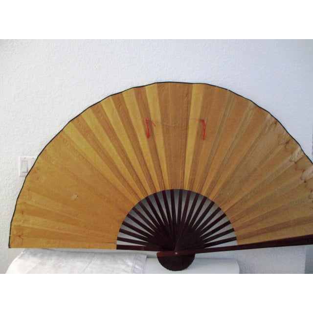 1980s Japanese Hand-Painted Paper & Wood Wall Fan For Sale - Image 9 of 13