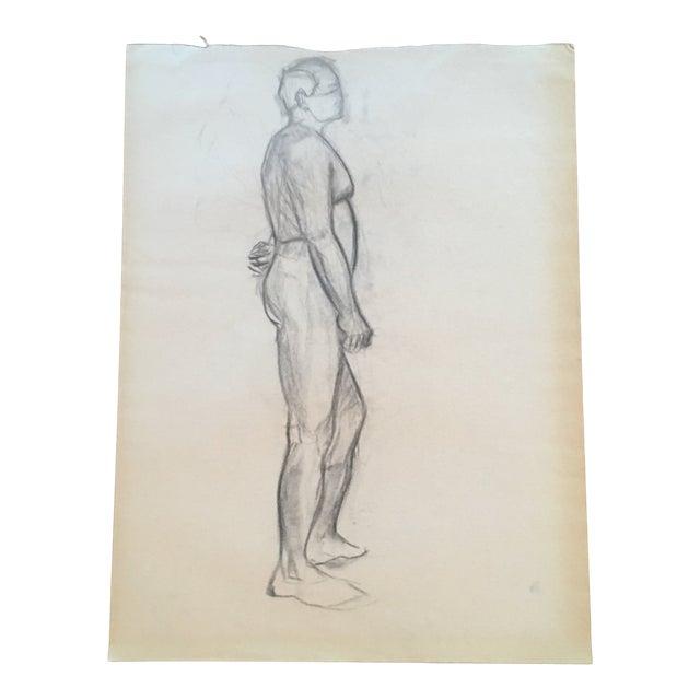Vintage Large Mid-Century / Realism Nude Anatomy Figure Drawing For Sale