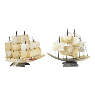 Italian Horn Ship Models, a Pair For Sale