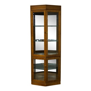 Thomasville Furniture Sierra Collection Oak Display Curio Cabinet For Sale