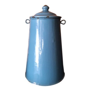 Peacock Blue French Enamelware Container For Sale