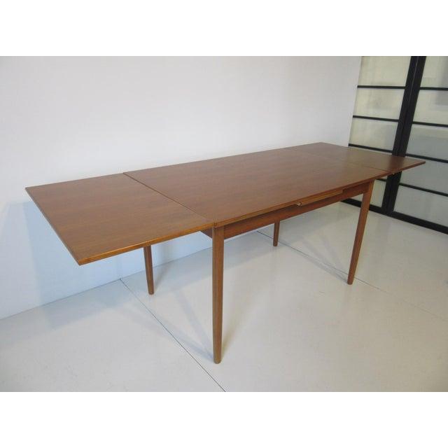 Teak Danish Modern Extendable Teak Dining Table For Sale - Image 7 of 8
