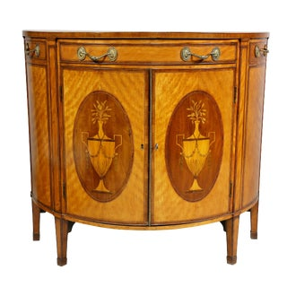 George III Satinwood and Marquetry Demilune Commode For Sale