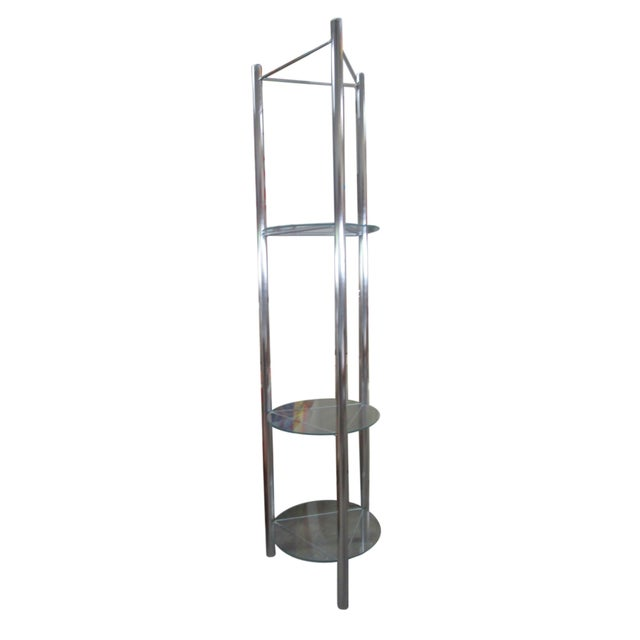 Mid-Century Modern Mid-Century Chrome Etagere with Triangular Shelves For Sale - Image 3 of 4