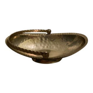 Hammered Brass Decorative Basket Catch-All For Sale