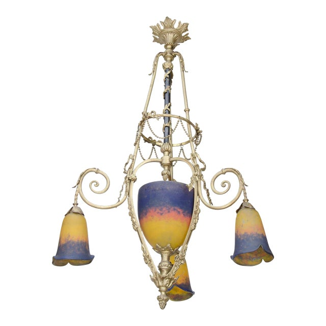 Exquisite Art Deco Bronze and Art Glass Chandelier by Muller Freres For Sale