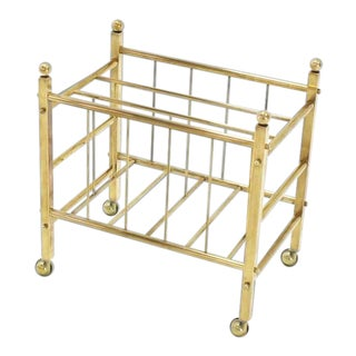 Early 20th Century Solid Brass Magazine Rack For Sale