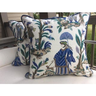 "Cowtan & Tout ""Voyagers"" Asian Inspired Cotton Print Blue & Green Pillow Covers - a Pair Preview"