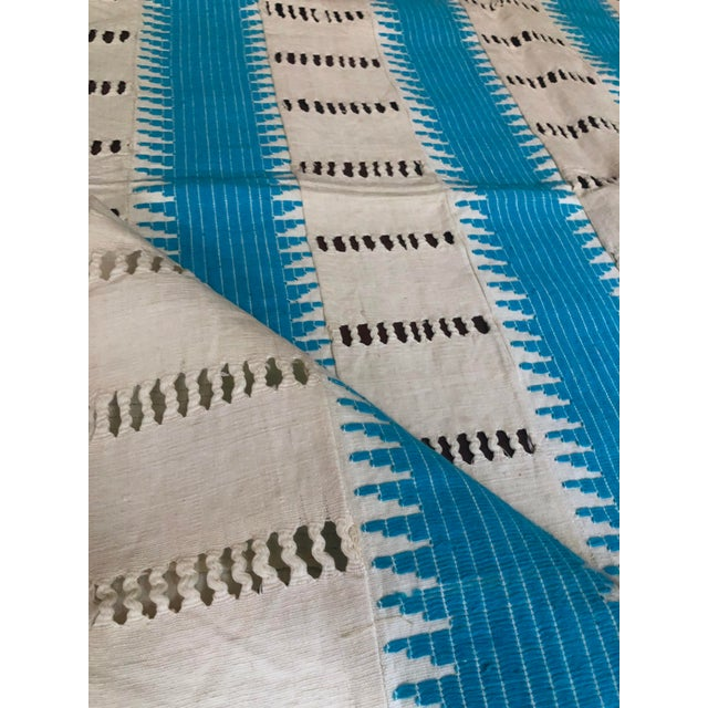 Vintage cotton North African Moorish throw. Beautiful cream background and turquoise color strips woven by hand in North...