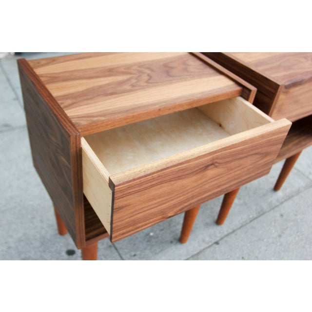 Wood Mid-Century Modern Walnut Night Stands - a Pair For Sale - Image 7 of 12