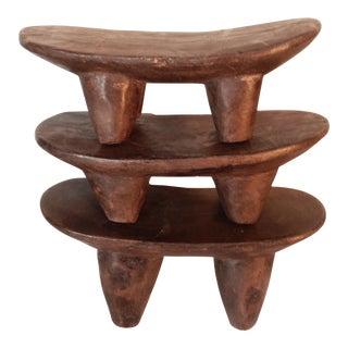Senufo Wood Kids Milk Stools/Head Rest - Set of 3