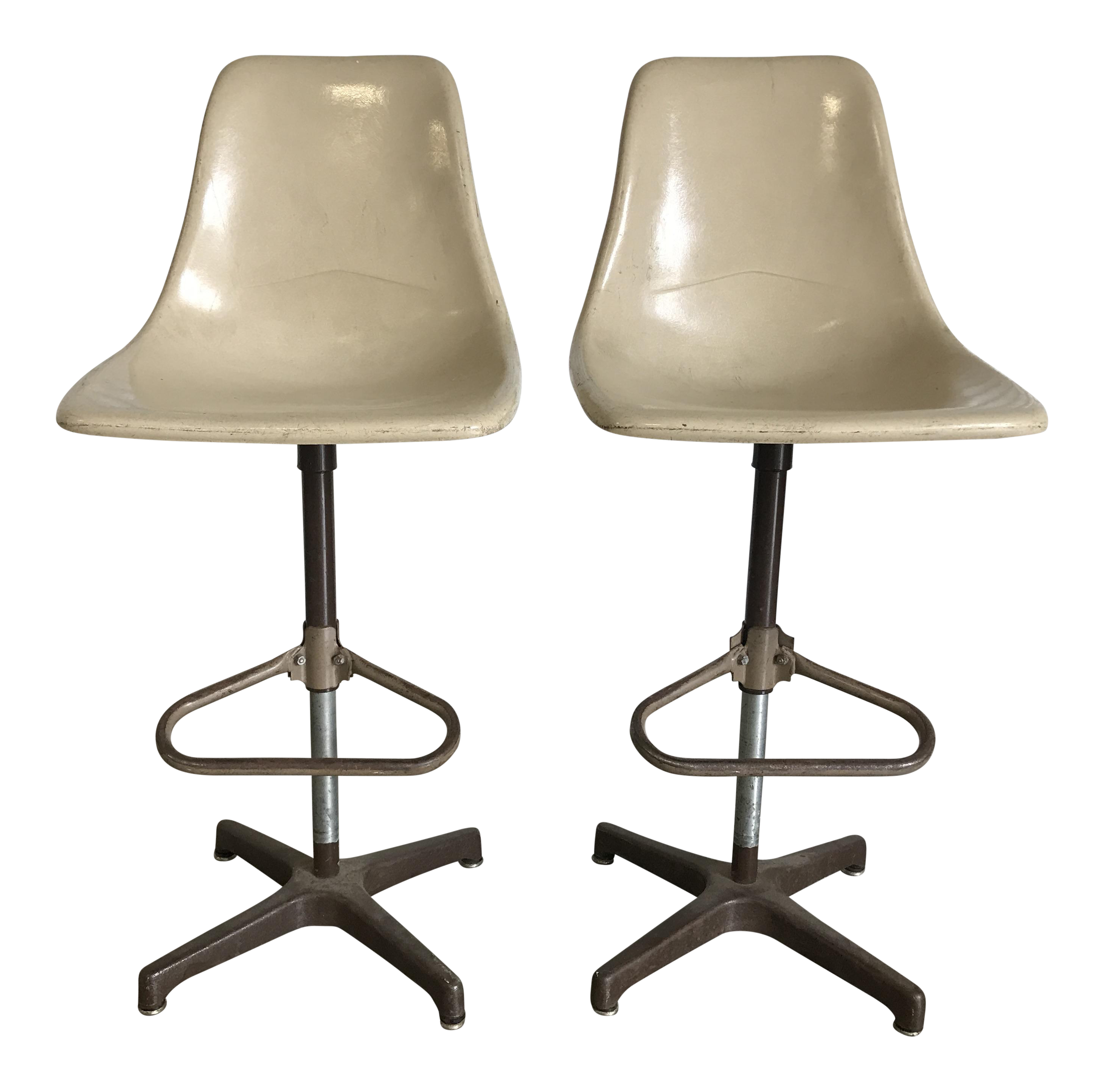 Vintage Eames Style Fiberglass Shell Chair Drafting Stools   A Pair