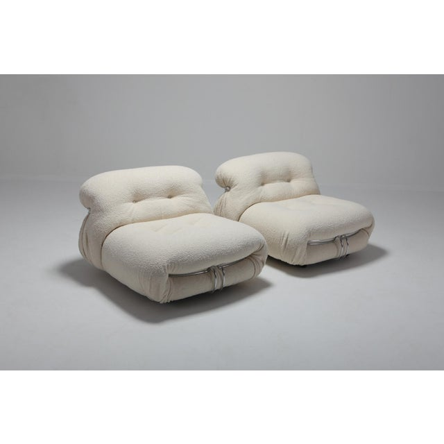 1970s Cassina 'Soriana' Pair of Lounge Chairs by Afra and Tobia Scarpa - 1970s For Sale - Image 5 of 11