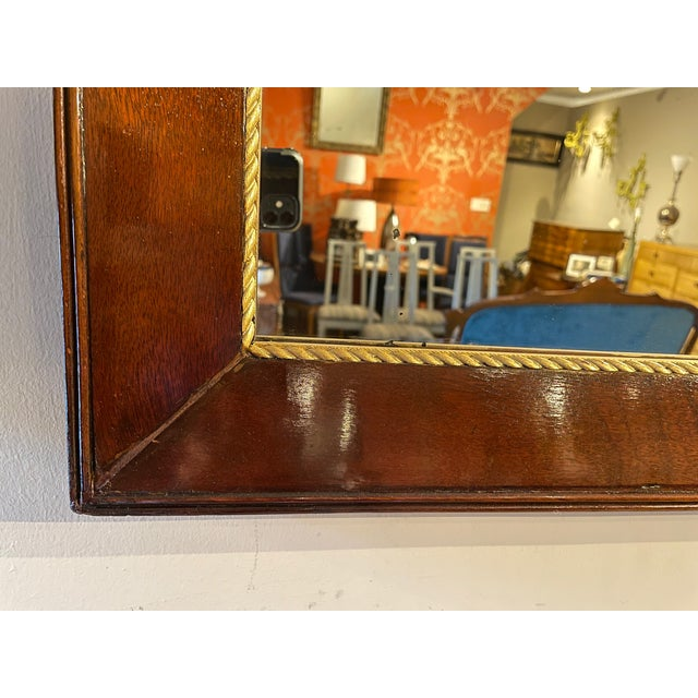 Antique Gold Trim Mahogany Mirror For Sale - Image 4 of 7