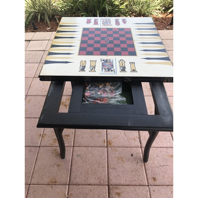 1950s Vintage Novelty Bamboo Game Table For Sale - Image 4 of 10