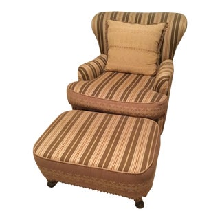 French Provincial Striped Fabric Chair and Ottoman Set - 2 Piece