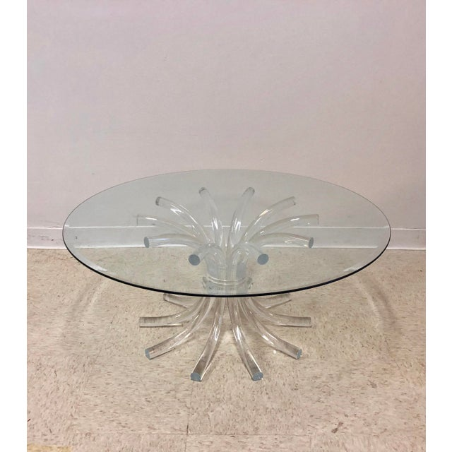 Lucite & Glass Wheat Sheaf Coffee / Cocktail Table - Image 5 of 8