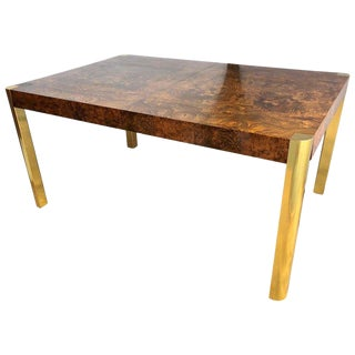 Mid-Century Modern Brass & Burl Wood Milo Baughman Dining Table With Two Leaves For Sale
