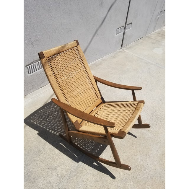 Hans Wegner Mid-Century Yugoslavian Paper Cord Rocking Chair For Sale - Image 4 of 4