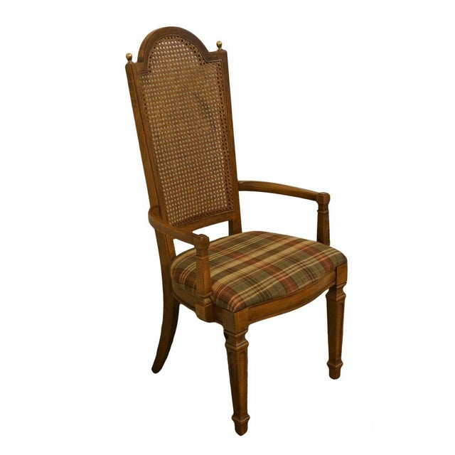 Late 20th Century Vintage Thomasville Furniture Cellini Collection Cane Back Dining Arm Chair For Sale - Image 13 of 13
