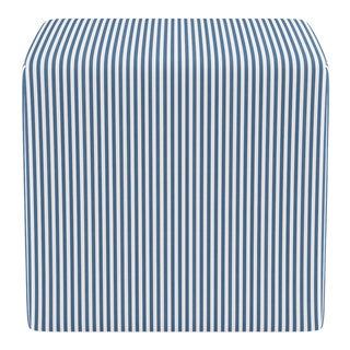 Cube Ottoman in Azul Ticking Stripe For Sale