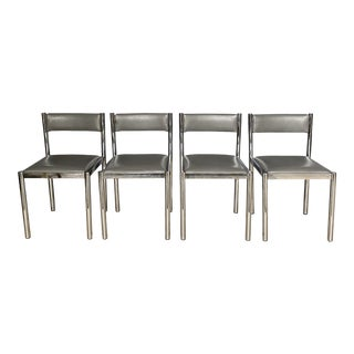 1970s Postmodern Chrome & Leather Tubular Chairs - Set of 4 For Sale