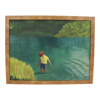 1970s Vintage Oil Painting of Boy Standing in a Pond Signed For Sale