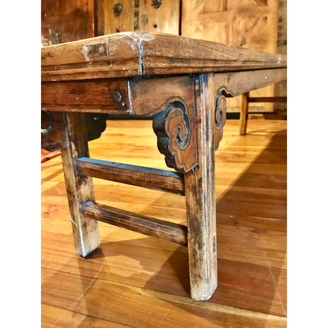 Chinese Antique Carved Wood Bench For Sale - Image 9 of 11