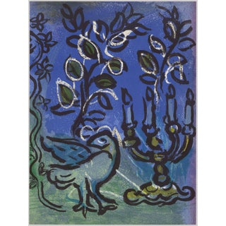 1960s Marc Chagall Original Lithograph Candlestick, Jerusalem Windows For Sale
