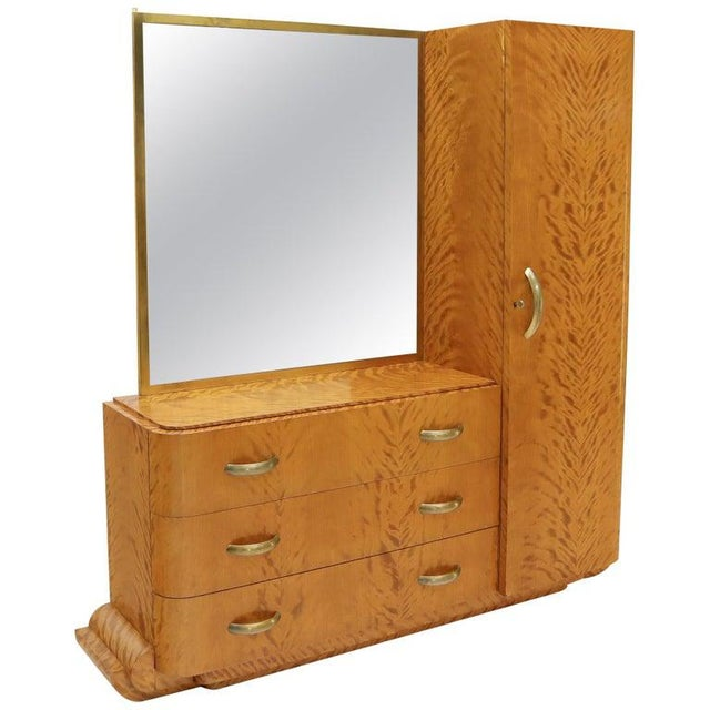 French Art Deco Chifforobe Dresser With Mirror Closet Cabinet Tiger Maple For Sale - Image 13 of 13