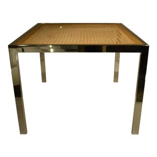 Mid Century Modern Milo Baughman Chrome, Glass and Wicker Game / Dining Table