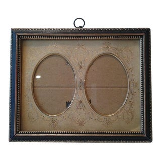 Small Black and Gold Double Oval Portrait Frame For Sale