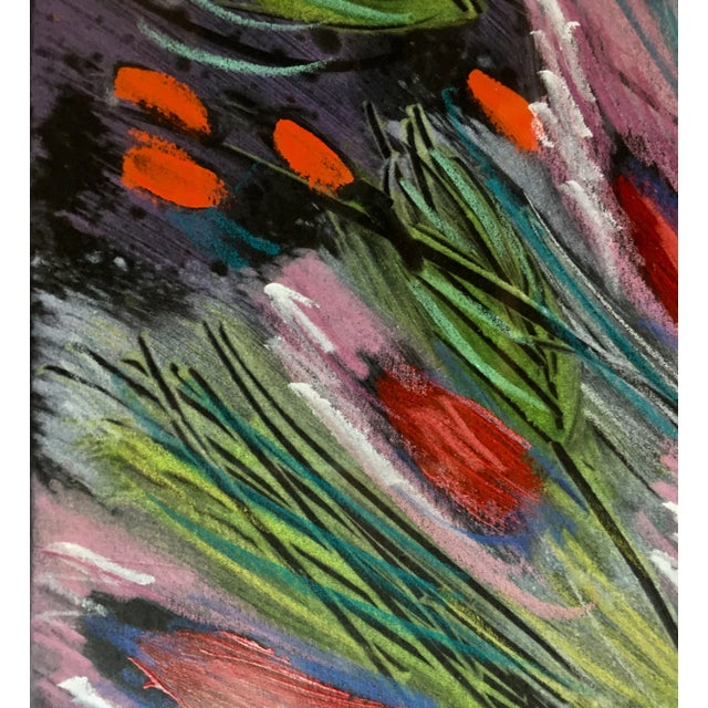 Green 1991 Original Penny Feder Expressionist Floral Monotype Painting- Vintage/Signed For Sale - Image 8 of 13