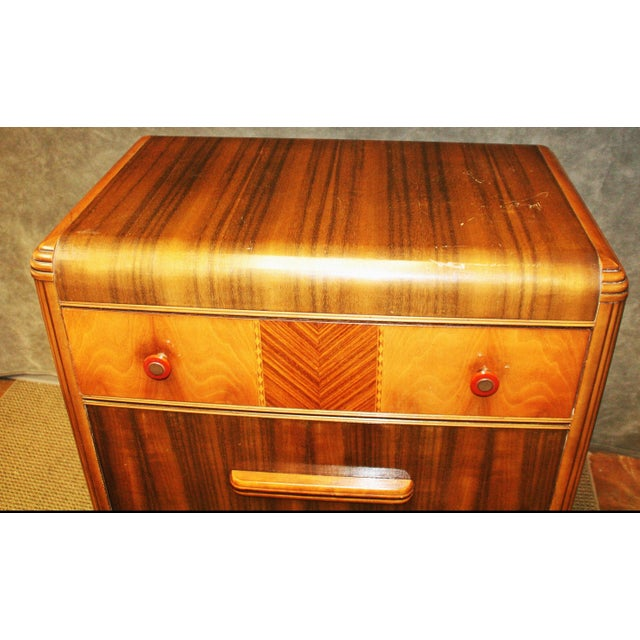 Brown Art Deco Waterfall Dresser With Bakelite Drawer Pulls For Sale - Image 8 of 11