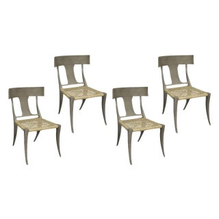 QS Layton Klismos Mahogany & Rattan Side Chairs by Noir - Set of 4