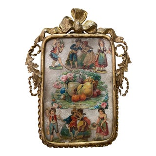 "19th Century Miniature Picture Frame With Period ""Forget Me Not"" Artwork C.1890s For Sale"