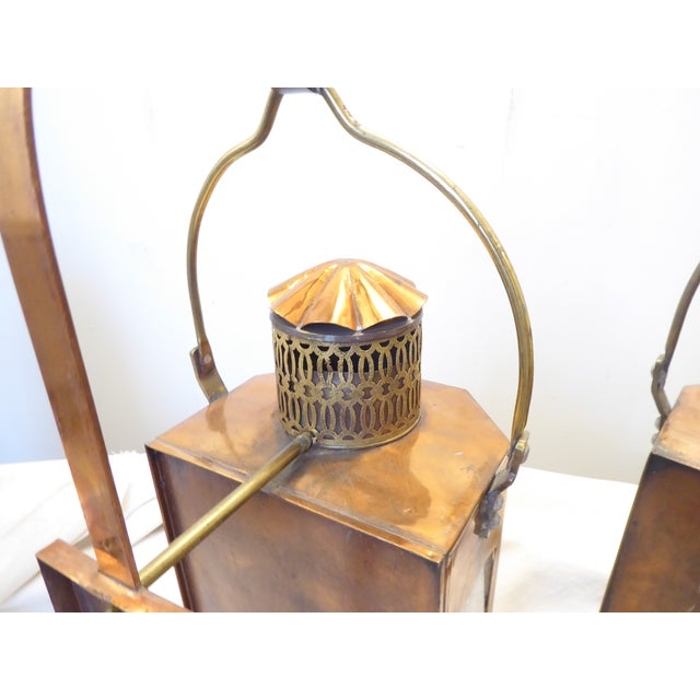 """Copper lantern sconces, bubbled glass panels, wiring in good condition, use up to 60 watt candelabra bulbs, 25""""H x 10.5""""W..."""