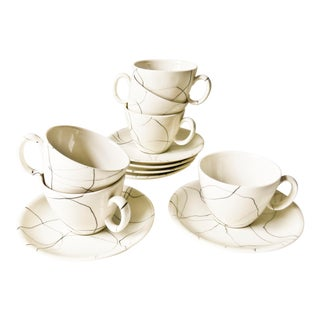 Iroquois China Carrara Modern Coffee Cups and Saucers- Set of 12 For Sale