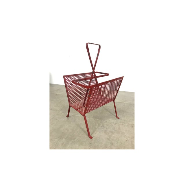 1950's Mathieu Mategot Attributed Red Metal Magazine Holder For Sale - Image 11 of 12