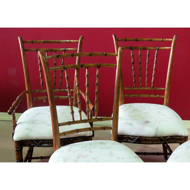 Mid Century Faux Bamboo Dining Chairs - Set of 6 For Sale - Image 4 of 10