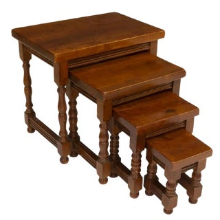 Antique Spanish Walnut Nesting Tables - Set of 4 For Sale